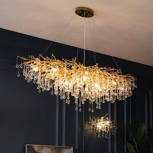 Современная роскошная хрустальная люстра освещение светодиодная вилла кухня висит лампы обеда для гостиной эль зала искусства крытые люстры