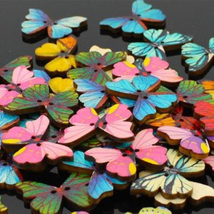 Beautiful Butterfly Shape Diy Scrapbooking Buttons Wooden Buttons Children 'S Garment Sewing Notions Manual Sewing Tools 1000pcs Lot
