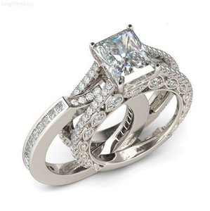 FactoryKCJ8Wedding Sterling New! 925 Hot Silver Sale Real Ring Set for Women Silver Wedding Engagement Jewelry Wholesale