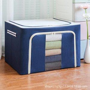 큰 강철 프레임 옥스포드 헝겊 저장 상자 세척 습기 방지 접이식 저장 상자 의류 퀼트 침대 하단 저장 가방