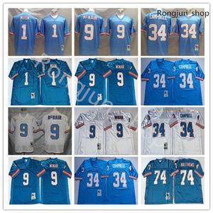 2021 Top Vintage Football Jerseys # 1 Warren Moon 34 Earl Campbell 9 Steve McNair 74 Bruce Matthews Blue White Adulto Steins College Jersey