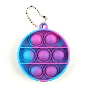 Runder Kreisquadrat Einfache Grübchen Keychain Push Bubble Pop Zappeln Spielzeug Anti Stress Dekompression Finger Bubble Board Schlüsselanhänger 680 Q2