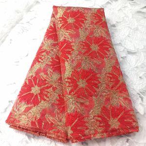 2021 Últimas Jacquard Brocade Tecido Africano Renda de Pano Organza Mesmo Francês Net Tulle Material Nigeriano Telas para Vestido Djo11