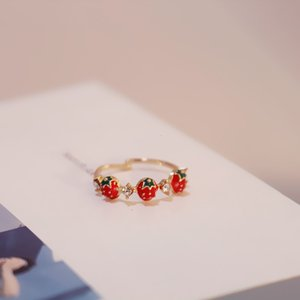 Onevan Rhinestones Dulce Fruta Red Strawberry Abra Anillos de dedo ajustable para Mujeres Girls Fiesta Regalos