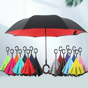 Solid Inverted Reverse Umbrellas 16 Colors Double Layer Folding Windproof Rain Protection C-Hook Hands Umbrella Household Sundries T2I51771
