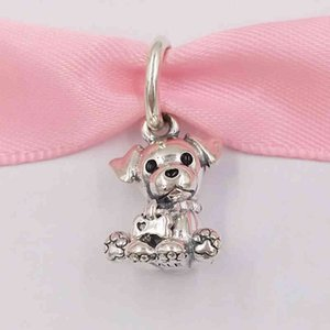 Authentic 925 Sterling Silver Beads Labrador Puppy Dangle Charm Charms Fits European Pandora Style Jewelry Bracelets & Necklace 798009EN16