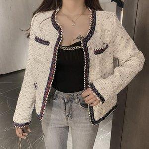 가을 패션 디자이너 여성 트위드 모직 재킷 코트 싱글 브레스트 긴 소매 빈티지 느슨한 여성 재킷