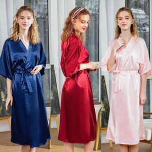 Nocturne de mariage femme demoiselle d'honneur de demoiselle d'honneur rouge robe robe occasionnel Service à domicile Silky Simple Kimono Peignoir Femme Femme Heightwear