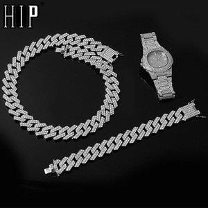 Hip Hop 1Kit orologio da 20 mm + collana + braccialetto ghiacciato strass croccante a catena cubana cz bling rapper collane pesanti per uomo gioielli catene