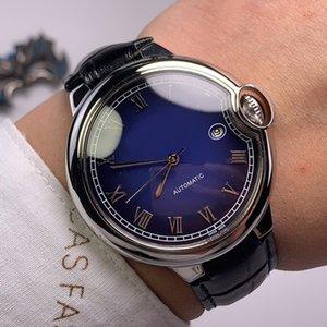 Erkek Saatler Otomatik Mekanik İzle 42mm Deri Kayış Su Geçirmez Moda İş Saatı Montre De Luxe Erkekler Hediyeler