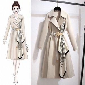 Large Size Autumn Women's Coat Korean New POLO Collar Windbreaker Women's Mid-length Slim Big-name Coat F1fk#