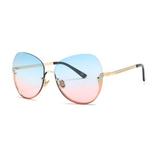 Denisa New Semi-rimless Blue Pink Sunglasses Women 2021 Gradient Oversized Sunglasses Uv400 Glasses Zonnebril Kinderen G22072