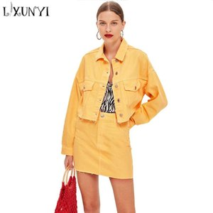 Women's Two Piece Pants Spring Yellow 2 Set Denim Skirt Suit Womens Sets 2021 Single Breasted Short Jacket And Mini High Waist