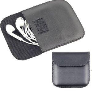 Aufbewahrungstaschen Moderne schwarze Farbe Kopfhörer Kopfhörer USB-Kabel Ledertasche Tragetasche Tasche Behälter HWE5379