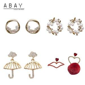 Stud S925 Silver Needle Zircon Umbrella Earrings Women Hong Kong Style Pearl Flowers Elegant Luxury High-grade Ear Pendant Trend