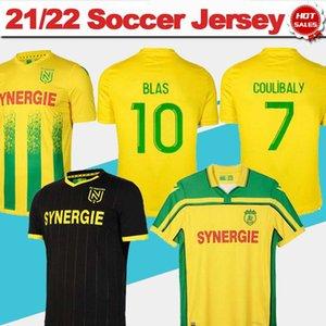 Jerseys de football Nantes 21/22 # 7 Coulibaly Home Jersey de football jaune # 10 Blas Away Chemise noire 2021/2022 Hommes 20 ans Uniformes