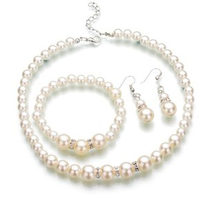 Mujeres Faux Pearl Joyas Conjuntos Falso Falso Artificial Pearl Beads Cadenas Collares Pendientes Pendientes de novia Compromiso Joyería Regalo 150 R2