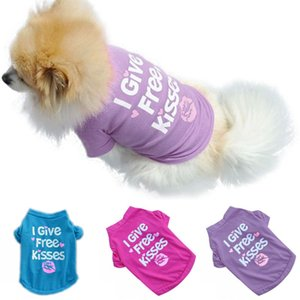 Dog Apparel Vest Puppy Small Cat Pets Summer Breathable T-shirt I Give Free Kisses Printed Chihuahua Sweatshirt