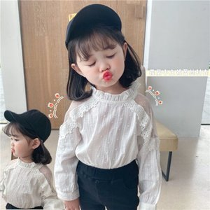 INS Korean Style Children Kids Girls Lace Blouses T-shirts Cute Spring Long Sleeve Tops