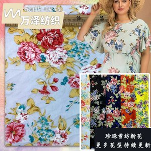 FactoryG3GQrose Pearl Chiffon twist silk hemp imitation tide brand broken shirt fabric 2021 spring summer new flower