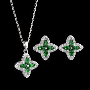 Four-leaf Clover Copper Zircon Inlaid Earrings Necklace Set Jewelry for Women&Girls