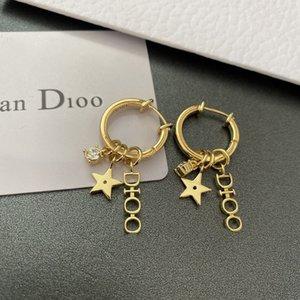 Designer earrings Jewellery brass material 925 pure silver Pin Earring letter Little Star Set Diamond Fashion versatile new ea LG7U 4AB7