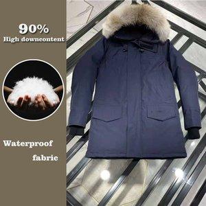 Classic Fashion Real Coyote Mur Mens Canadian CG Landfords Parka Goose Down Куртка Теплый Верхнее пальто Ветрозащитная Экстремальная погода