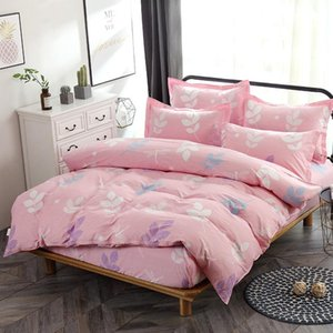 4Pcs Pink Bedding Set Duvet Cover Bed Fitted Sheet Home Textile Twin Full Queen California King Size Flower Bedspread Pillowcase Sets
