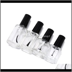 10Ml 15Ml Empty Nail Polish Glass Bottle Clear Portable Uv Gel Container Refilled Box Square Round Makeup Tube Brush Au5M4 Bottles Jar Pgylv