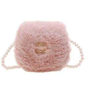 Children's Girls pearl chain bag cute plush fur flap purses small size cross body shoulder messenger bags princess style baby wallet coin bag outdoor pursesG109OU7V