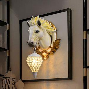 Wall Lamps Modern American Retro Led Resin Horse Head Light Fixtures Living Room Bedroom Bedside Lights Home Indoor Decor