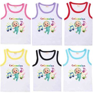 2021 Summer Cute Cocomelon Cartoon Printed Children's Vest Fashion Jj Boys Sleeveless Casual Sports Candy Colors Kids Sports Girls Clothes 8652 G76X4QS