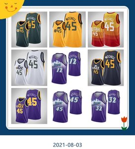 Hommes 2021 Jersey 45 Donovan Mitchell27 Rudy Gobert12 John Stockton32 Karl Malonejerey Basketball