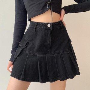 Skirts Women Harajuku High Waist Black Jeans Pleated Mini Denim Skirt Side Flap Pocket Patchwork Vintage Ruffle Gothic Punk A-Line