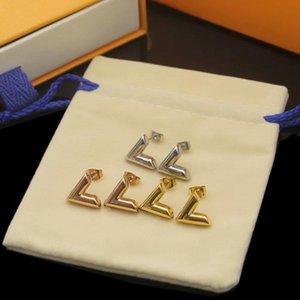 Brincos De Moda 316L Aço Inoxidável Mulheres Luxo Stud Rose Gold Marca V carta Triângulo Designer Brinco Jóias Presentes