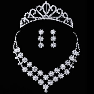 Fashion Crystal Bride Accessories Rhinestone Wedding Jewelry Sets with Necklace Earring Crown Bride Bridal Wedding