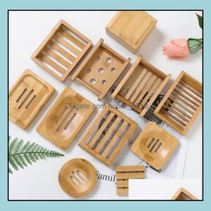 Bathroom Aessories Bath Home & Garden10Pcs Mti Styles Natural Bamboo Dishes Tray Holder Storage Soap Rack Plate Box Drop Delivery 2021 9Jvuc