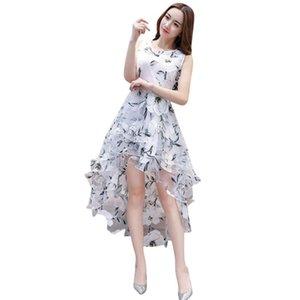 Robe d'été féminine à la mode Feuille de mariage imprimé à la mode Simple Robes fraîches avec Fronr Retour à court terme occasionnel