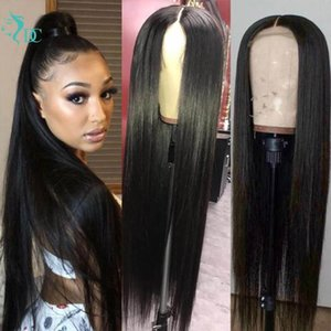 36Inch Straight Lace Closure Wig Bone Human Hair Wigs Pre Plucked Brazilian180% Density Long