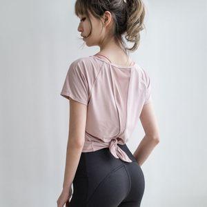 2020 NUEVA Ropa de yoga Mujeres Primavera y verano Camiseta de manga corta Ropa deportiva Malla suelta Correr Media manga Ropa de aptitud rápida