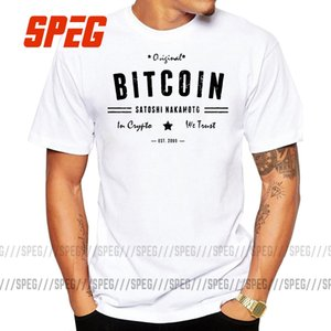 Bitcoin Оригинал Satoshi Crypto logo T рубашка плюс размер печати с коротким рукавом футболка новых высококачественных хлопчатобумажных мужчин TEE Ширцчина прямая сеть