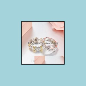 With Side Stones Jewelryx 925 Sterling Sier For Women Fl Big Cubic Zirconia Crystal Finger Rings Wedding Luxury Jewelry Drop Delivery 2021 E
