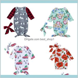 Baby Kids Sleeping Bag Plaid Printed Letter Long Sleeve O-Neck Christmas Sleep Bag With Kerchief Baby Girls Sleeping 0-6M 07 Cvffc Hznt2
