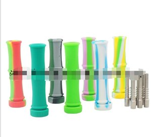 Silicone Nectar Collector With 10mm Stainless Steel Tip Titanium Tip & Container Bamboo NC Kit Unbreakable Silicon Rigs Smoking