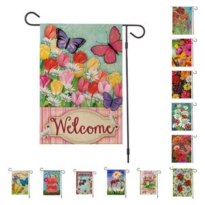 Butterfly flower Spring Garden Flag linen Courtyard flag double sided printing home Outdoor Thanksgiving Banner Flags T2I51935