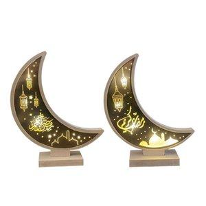 Ramadan Lua Forma LED Luz Eid Mubarak Ornamento De Madeira Decoração Home Craft Islâmico Partido Muçulmano Presente De Presente Candeeiros