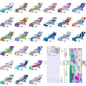 Kravat Boya Plaj Sandalye Kapak Yan Cep ile Renkli Şezlong Şezlong Şezlong Havuz Sunbating Bahçe DHA4514 için Kapakları