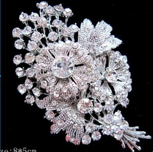 Large Silver Plated Clear Rhinestone Diamond Crystal Bunch Flower Boutique Brooch