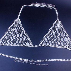GLAMing Sexy Crystal Body Chain Jewelry for Women Bikini Night Club Rhinestone Thong and Bra Set Panties Underwear Jewellery