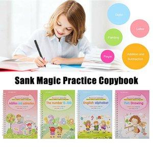 4 libros Magic Copybook aprender inglés Pintura práctica Libro digital Profesional Cuaderno Caligrafía Herramientas de práctica pintadas a mano CPA5101